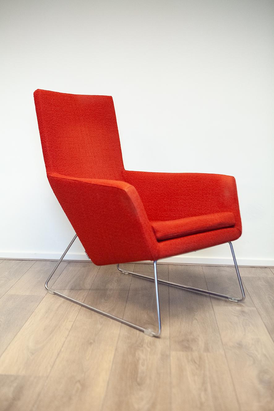 Design Fauteuil Rood.Don Design Fauteuil Van Topmerk Label In Rood Oranje Stof