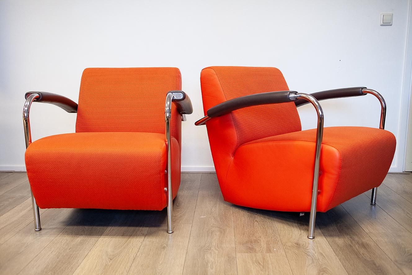 Leolux Fauteuil Leer.Oranje Rode Scylla Design Fauteuils Van Leolux Leer Stof 2 Stuks